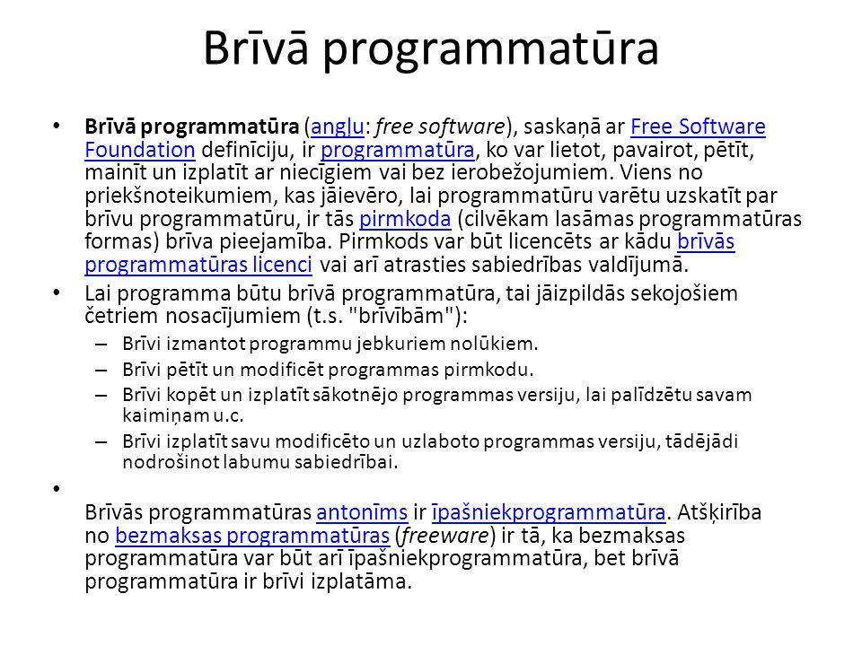 Brīvā programmatūra Brīvā programmatūra (angļu: free software), saskaņā ar Free Software Foundation definīciju, ir programmatūra, ko var lietot, pavairot, pētīt, mainīt un izplatīt ar niecīgiem vai bez ierobežojumiem.