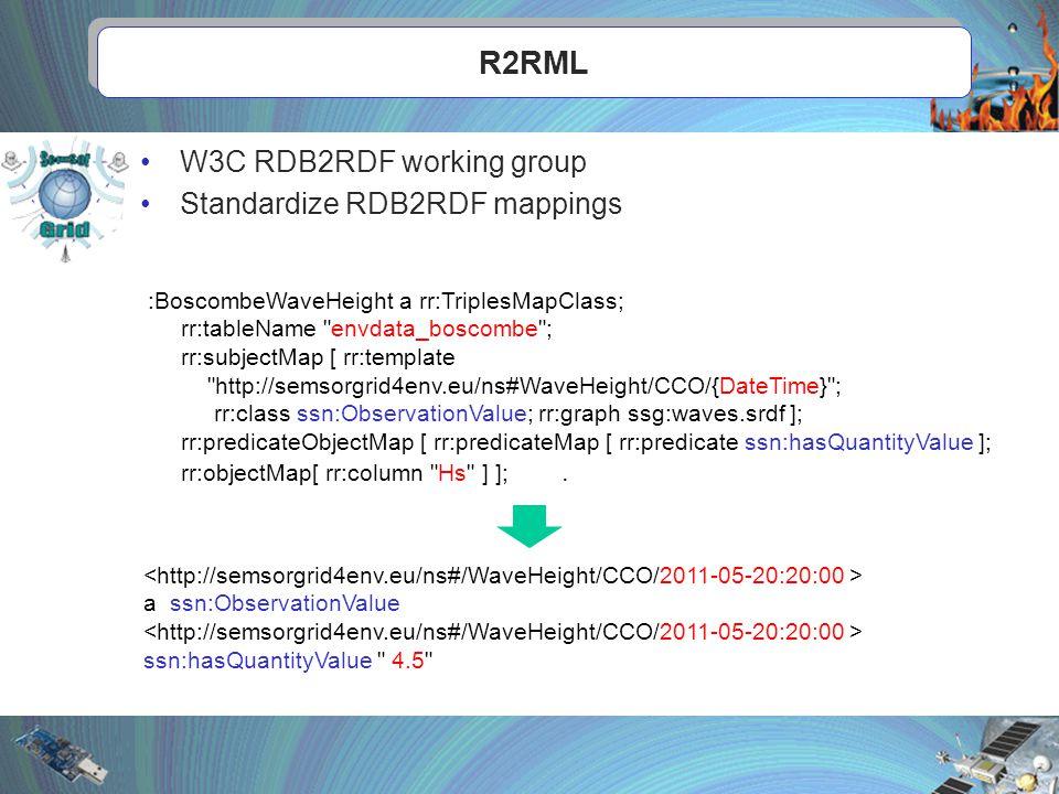 R2RML :BoscombeWaveHeight a rr:TriplesMapClass; rr:tableName envdata_boscombe ; rr:subjectMap [ rr:template http://semsorgrid4env.eu/ns#WaveHeight/CCO/{DateTime} ; rr:class ssn:ObservationValue; rr:graph ssg:waves.srdf ]; rr:predicateObjectMap [ rr:predicateMap [ rr:predicate ssn:hasQuantityValue ]; rr:objectMap[ rr:column Hs ] ];.