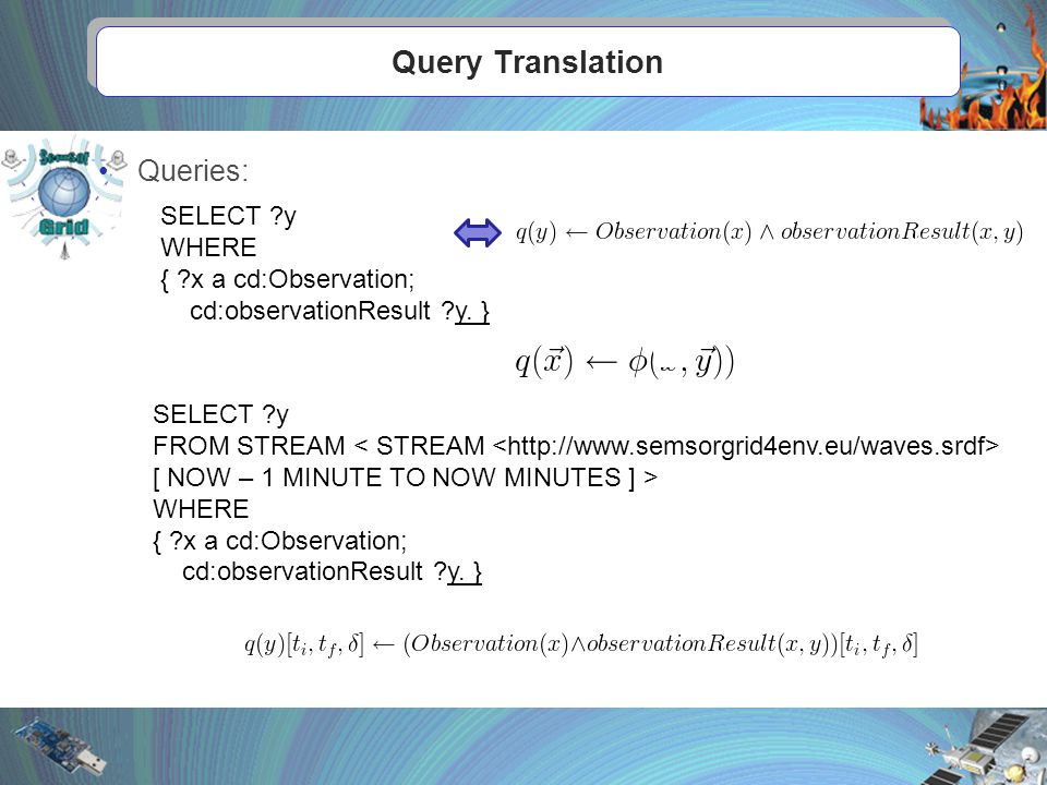Query Translation Queries: SELECT y WHERE { x a cd:Observation; cd:observationResult y.