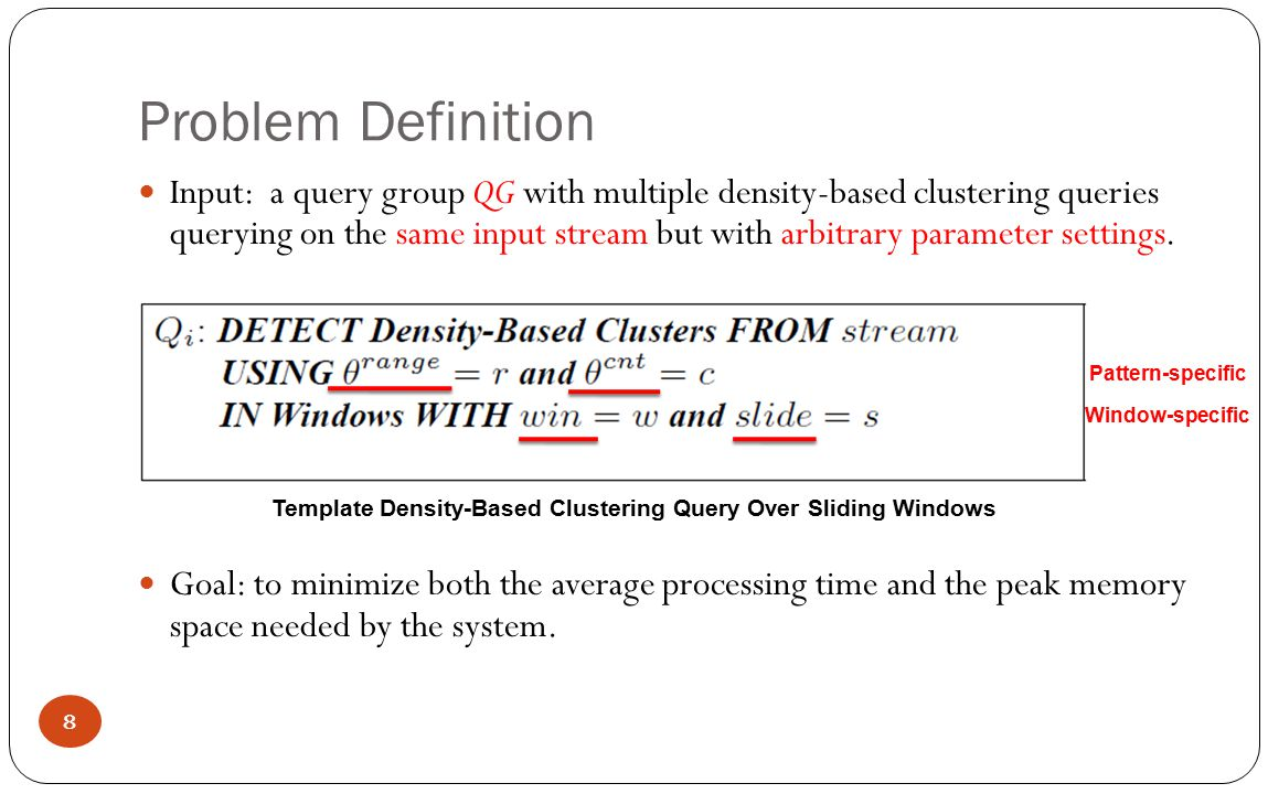Arbitrary Window-Specific Parameter Case -- arbitrary slide, arbitrary win Use a single meta query with largest window size and adaptive slide size to represent queries.