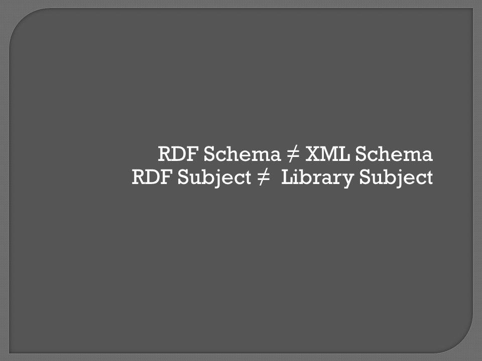 RDF Schema ≠ XML Schema RDF Subject ≠ Library Subject