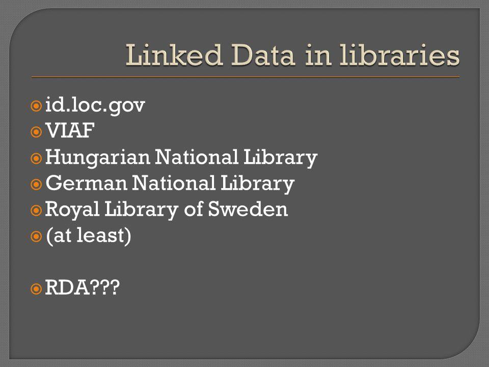  id.loc.gov  VIAF  Hungarian National Library  German National Library  Royal Library of Sweden  (at least)  RDA???