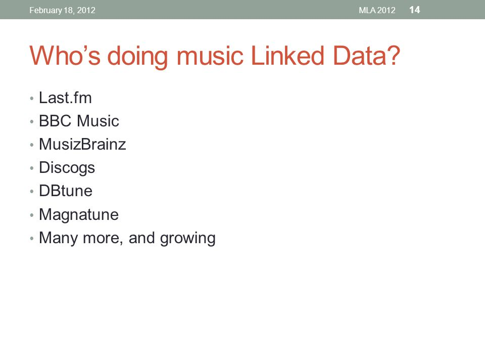 Who's doing music Linked Data.