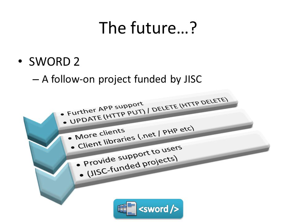 The future… SWORD 2 – A follow-on project funded by JISC