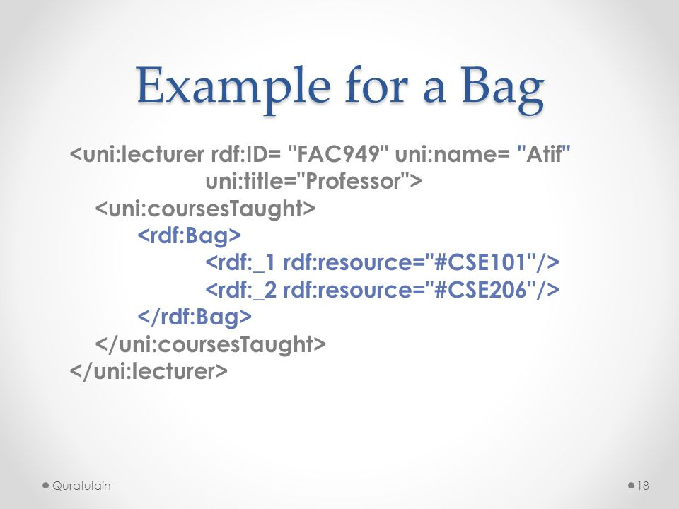 Quratulain18 Example for a Bag <uni:lecturer rdf:ID=