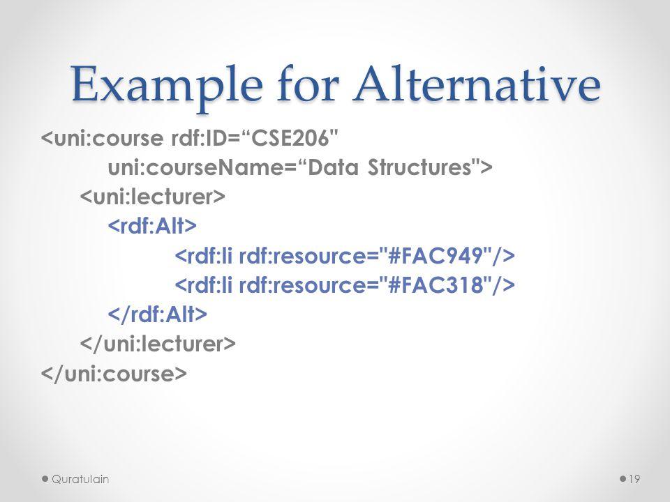 "Quratulain19 Example for Alternative <uni:course rdf:ID=""CSE206"