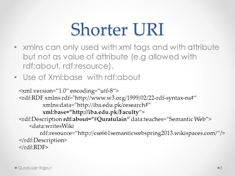 Shorter URI Use of xml:base with rdf:ID (used only once) Quratulain Rajput9 <rdf:RDF xmlns:rdf= http://www.w3.org/1999/02/22-rdf-syntax-ns# xmlns:data= http://iba.edu.pk/research# xml:base= http://iba.edu.pk/Faculty > <data:writesWiki rdf:resource= http://cse661semanticwebspring2013.wikispaces.com/ />