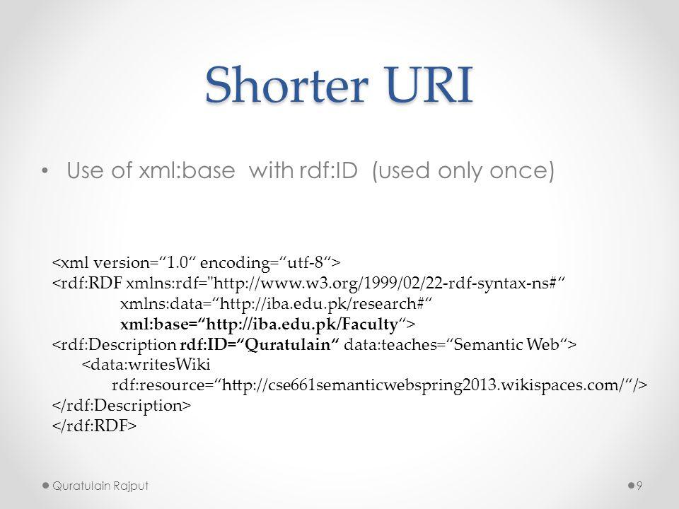 Shorter URI Use of xml:base with rdf:ID (used only once) Quratulain Rajput9 <rdf:RDF xmlns:rdf=
