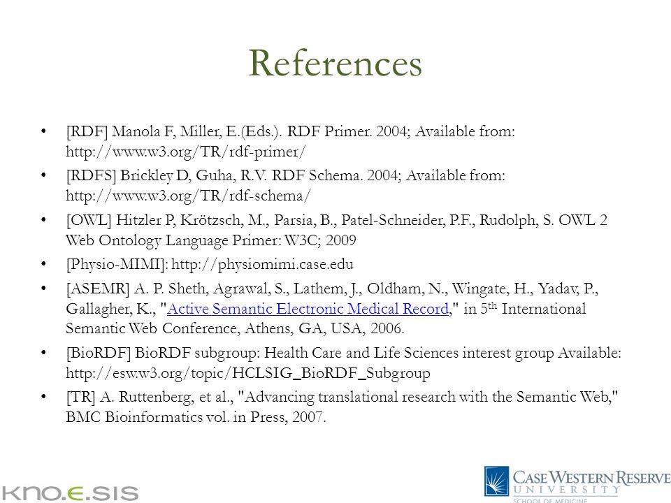 References [RDF] Manola F, Miller, E.(Eds.). RDF Primer. 2004; Available from: http://www.w3.org/TR/rdf-primer/ [RDFS] Brickley D, Guha, R.V. RDF Sche