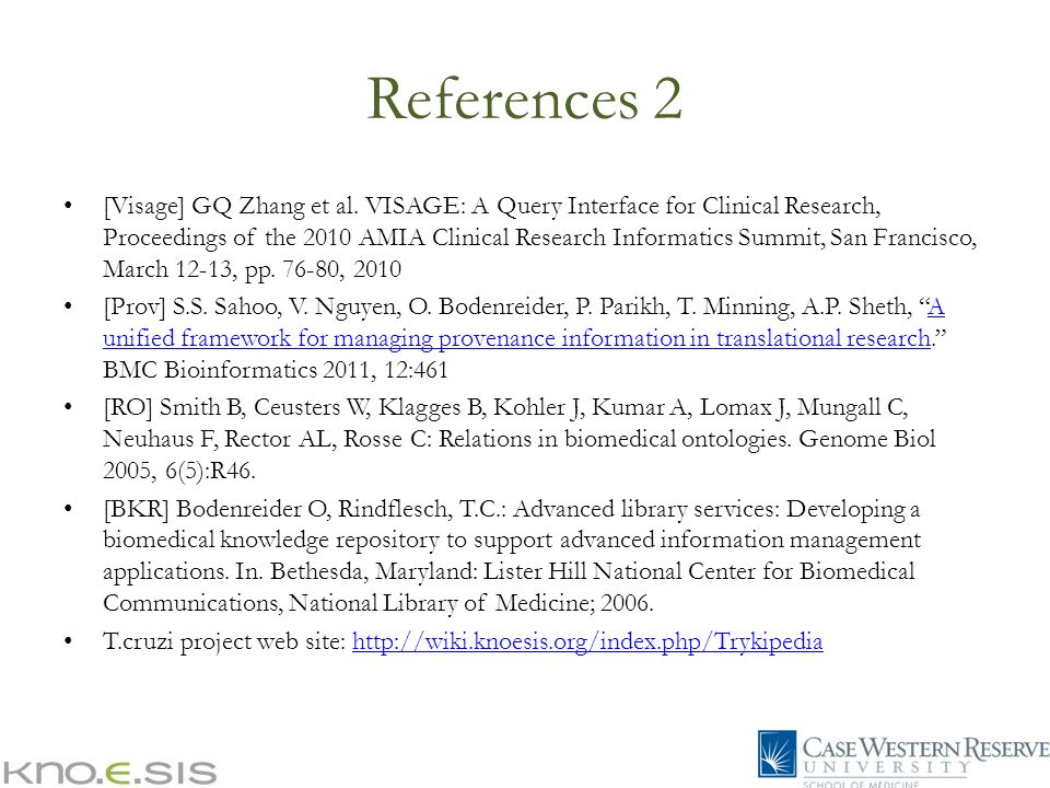 References 2 [Visage] GQ Zhang et al.