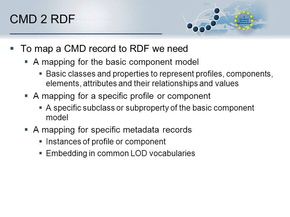 CMD 2 RDF  To map a CMD record to RDF we need  A mapping for the basic component model  Basic classes and properties to represent profiles, compone