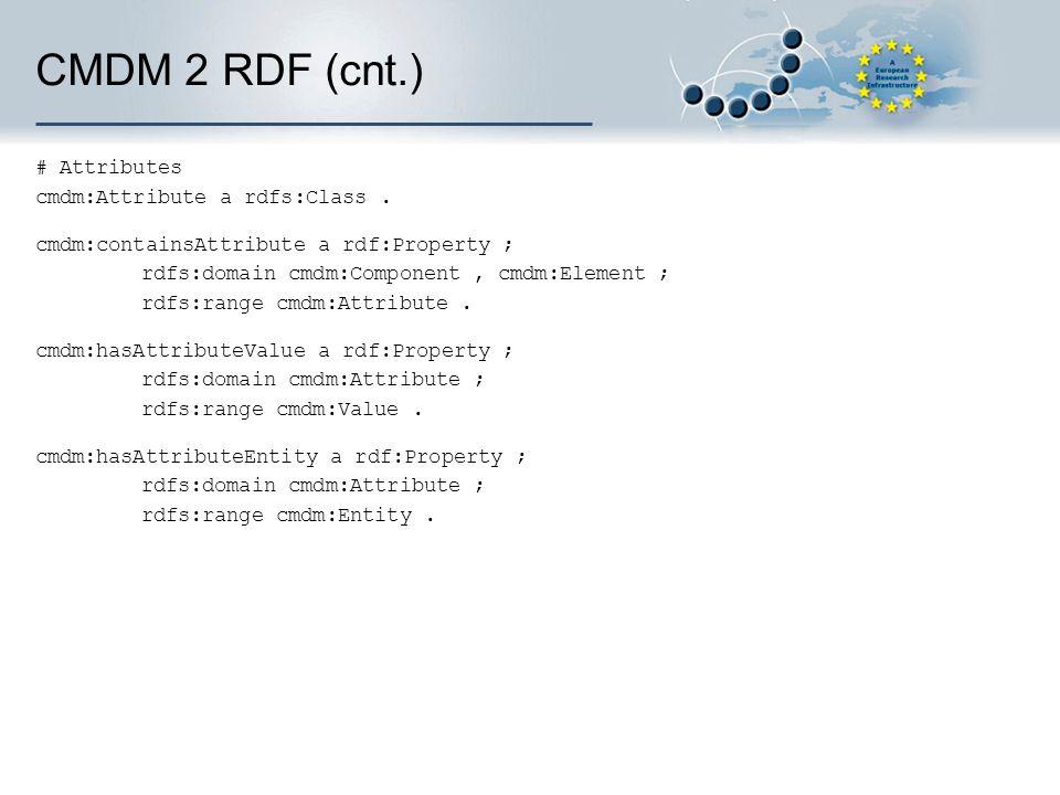 CMDM 2 RDF (cnt.) # Attributes cmdm:Attribute a rdfs:Class. cmdm:containsAttribute a rdf:Property ; rdfs:domain cmdm:Component, cmdm:Element ; rdfs:ra