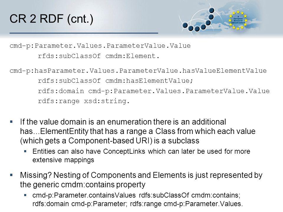 CR 2 RDF (cnt.) cmd-p:Parameter.Values.ParameterValue.Value rfds:subClassOf cmdm:Element. cmd-p:hasParameter.Values.ParameterValue.hasValueElementValu