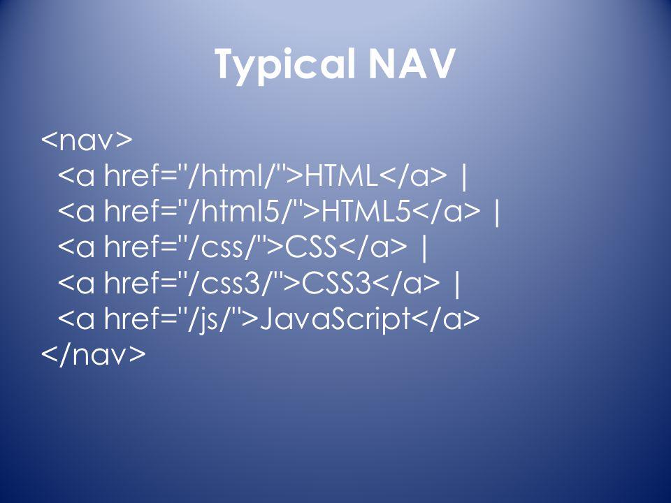 Typical NAV HTML | HTML5 | CSS | CSS3 | JavaScript