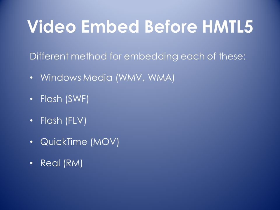 Video Embed Before HMTL5 Different method for embedding each of these: Windows Media (WMV, WMA) Flash (SWF) Flash (FLV) QuickTime (MOV) Real (RM)