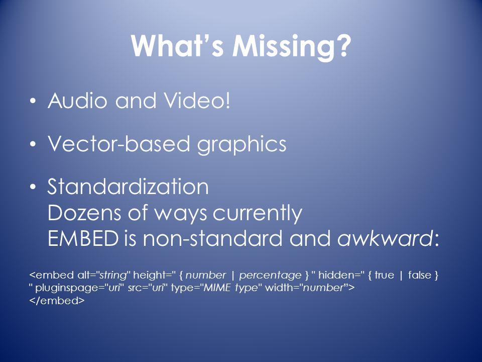 What's Missing. Audio and Video.