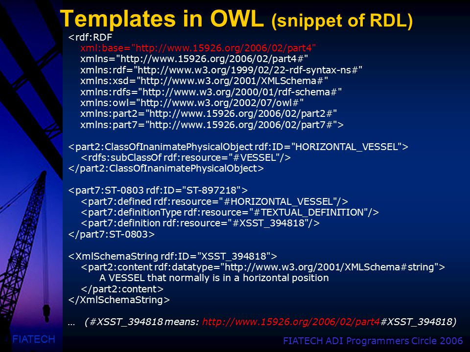 FIATECH FIATECH ADI Programmers Circle 2006 Templates in OWL (snippet of RDL) <rdf:RDF xml:base=