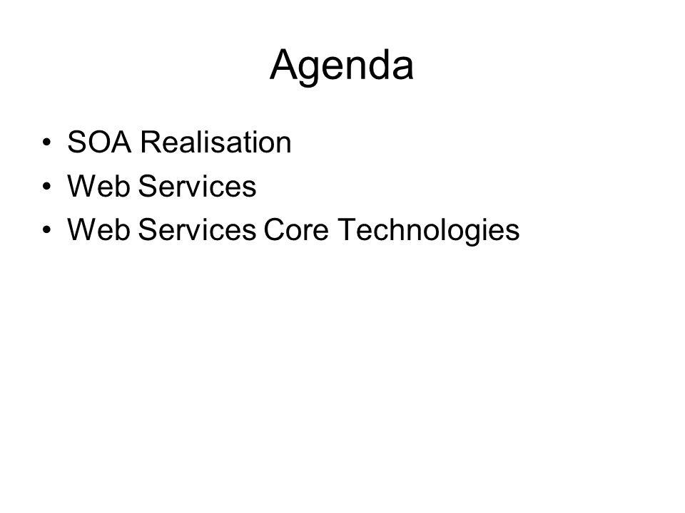 Agenda SOA Realisation Web Services Web Services Core Technologies