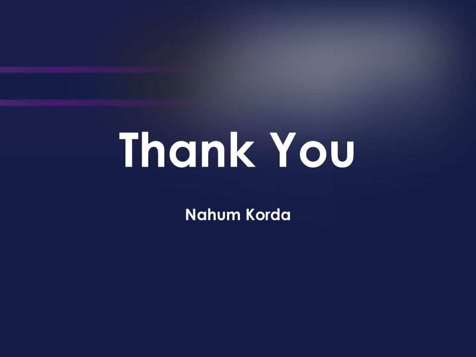 Thank You Nahum Korda