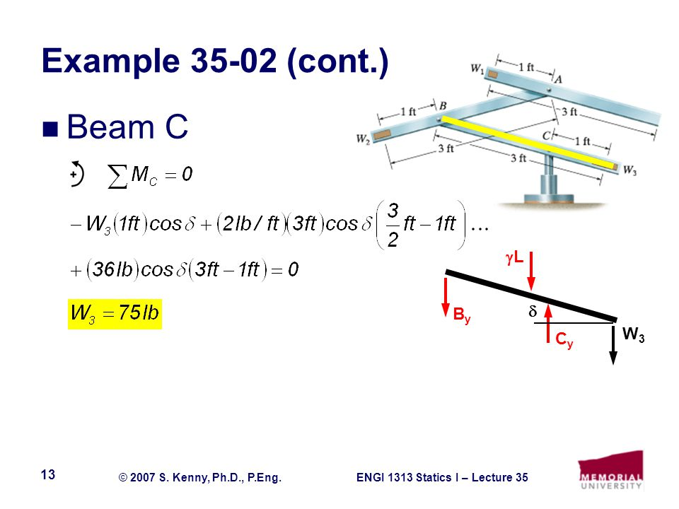 ENGI 1313 Statics I – Lecture 35© 2007 S. Kenny, Ph.D., P.Eng.