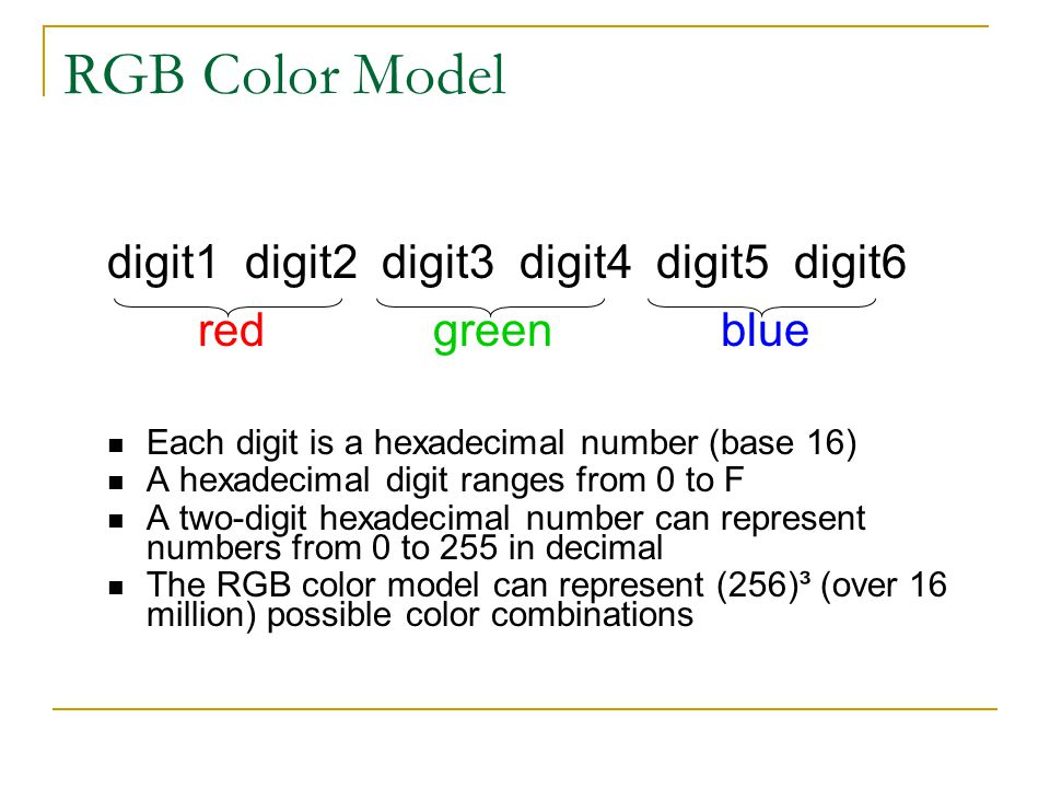 RGB Color Model digit1 digit2 digit3 digit4 digit5 digit6 red green blue Each digit is a hexadecimal number (base 16) A hexadecimal digit ranges from 0 to F A two-digit hexadecimal number can represent numbers from 0 to 255 in decimal The RGB color model can represent (256)³ (over 16 million) possible color combinations