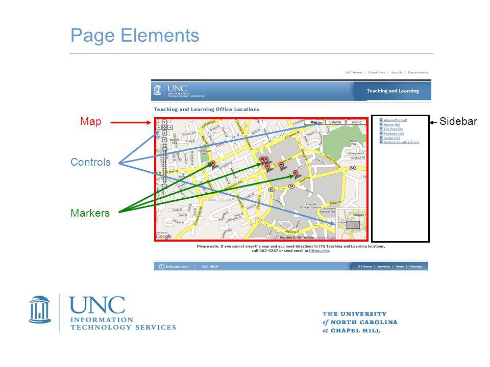 Basics var map = newGMap2(document.getElementById( map )); map.setCenter(new GLatLng(37.4419, -122.1419), 13); My Google Maps Hack v\:* { behavior:url(#default#VML); } 1- Set up the page 2- Generate map **references html element with id == map