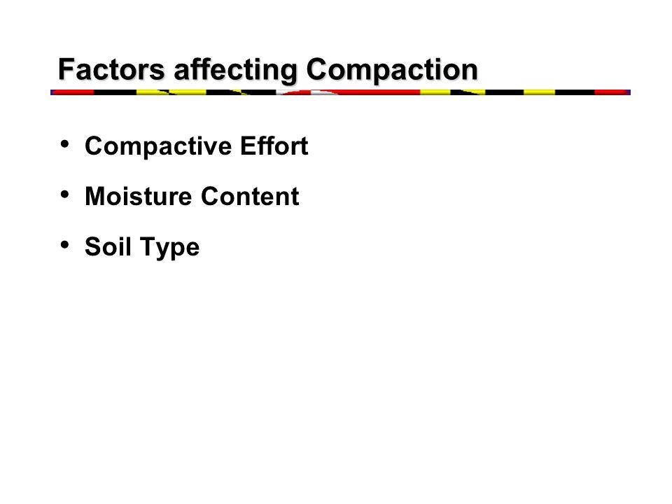 Factors affecting Compaction Compactive Effort Moisture Content Soil Type