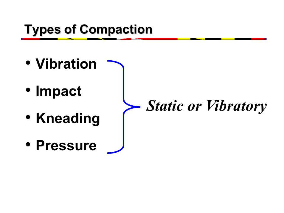 Types of Compaction Vibration Impact Kneading Pressure Static or Vibratory