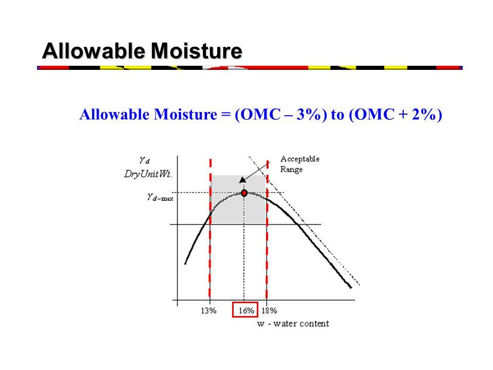 Allowable Moisture Allowable Moisture = (OMC – 3%) to (OMC + 2%)