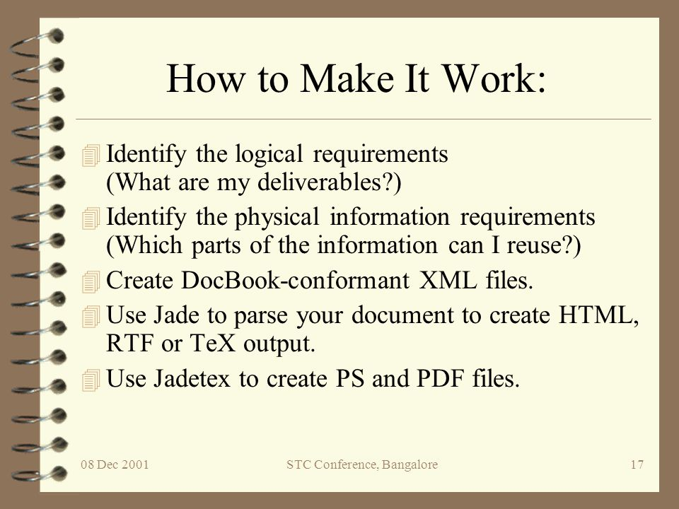 08 Dec 2001STC Conference, Bangalore18 Case 2: Use XML with XSL
