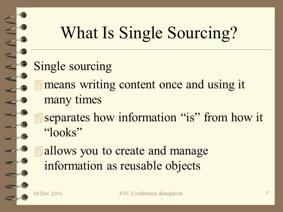 08 Dec 2001STC Conference, Bangalore8 Information as Objects User manual Single source Quick Start