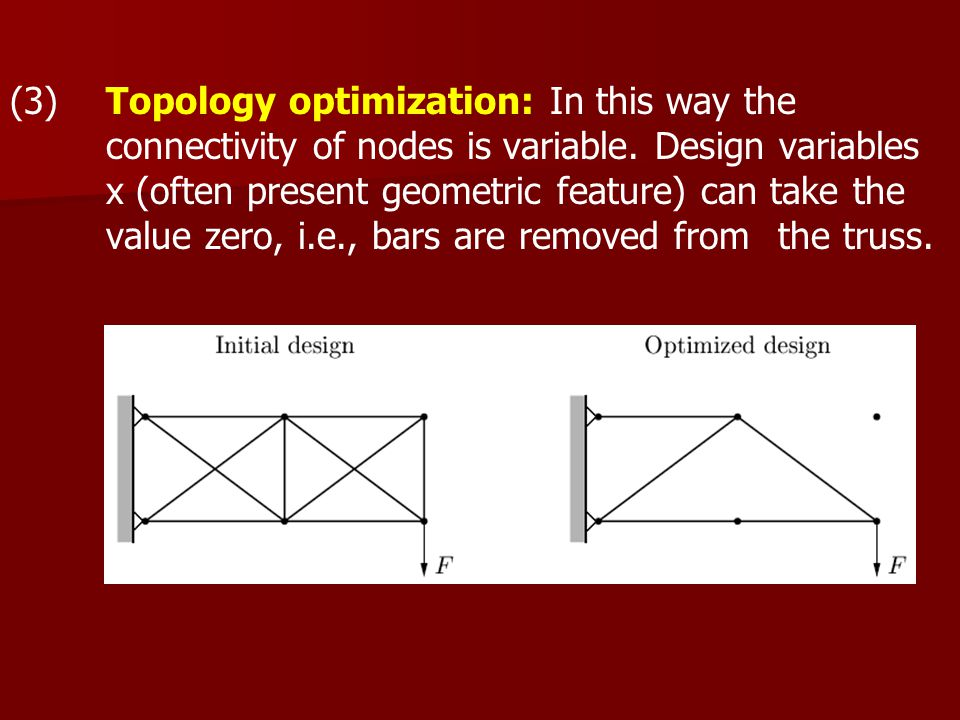 (3) Topology optimization: In this way the connectivity of nodes is variable.