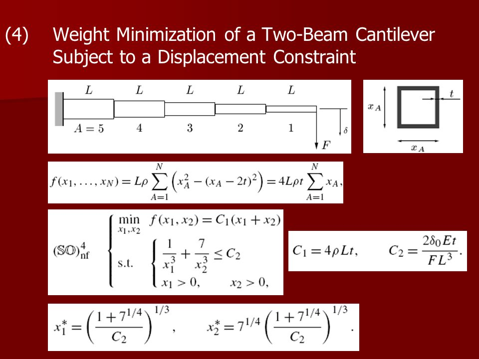(4) Weight Minimization of a Two-Beam Cantilever Subject to a Displacement Constraint