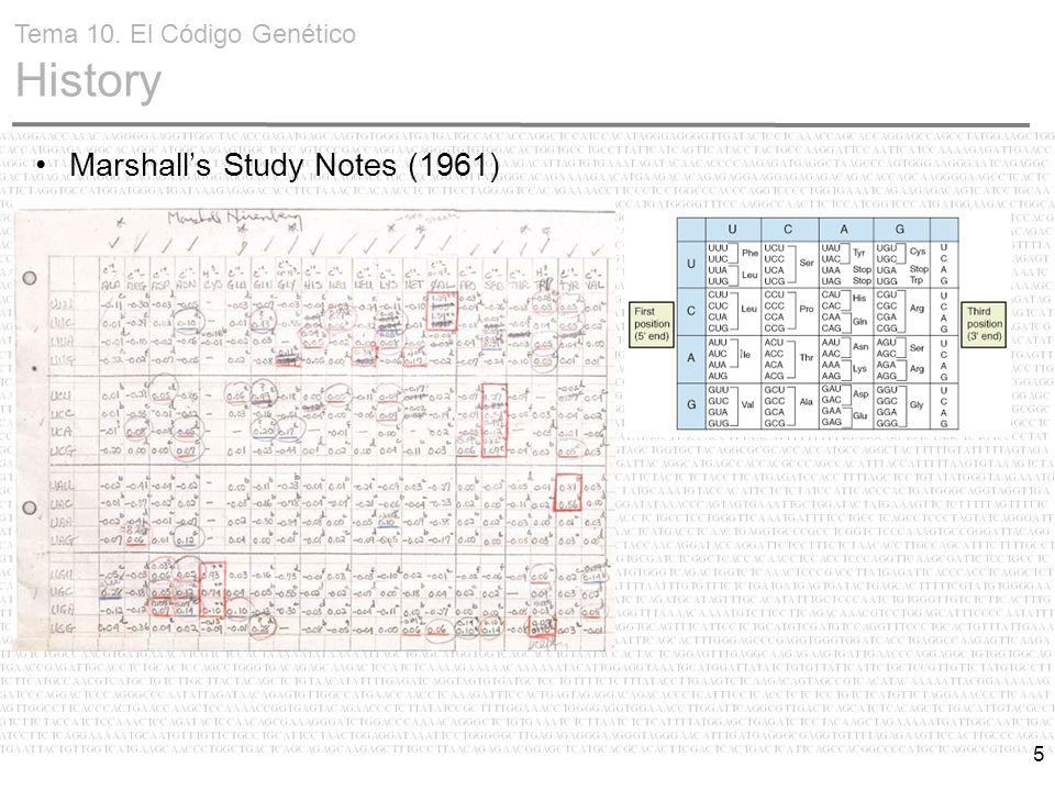 5 Marshall's Study Notes (1961) Tema 10. El Código Genético History