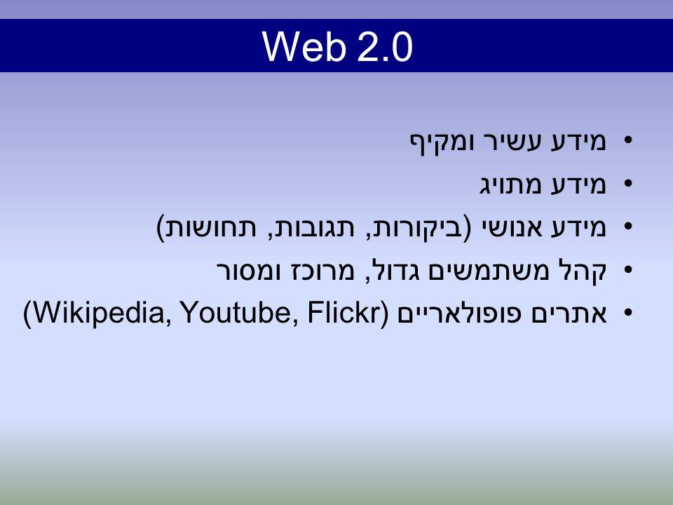 מידע עשיר ומקיף מידע מתויג מידע אנושי (ביקורות, תגובות, תחושות) קהל משתמשים גדול, מרוכז ומסור אתרים פופולאריים (Wikipedia, Youtube, Flickr) Web 2.0