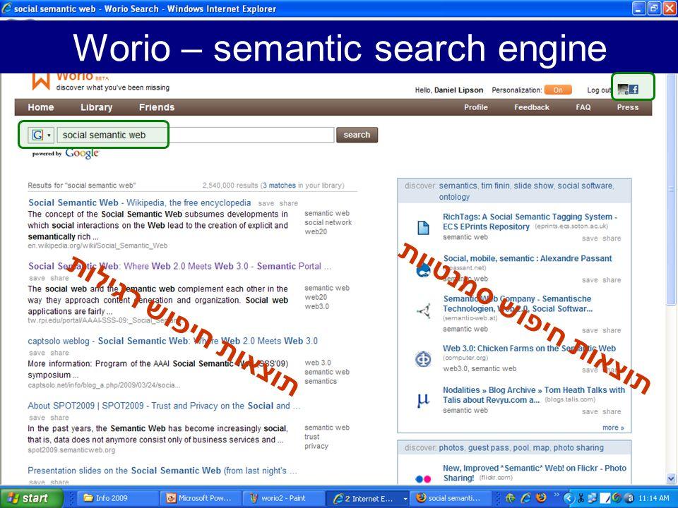 Worio – semantic search engine תוצאות חיפוש רגילות תוצאות חיפוש סמנטיות