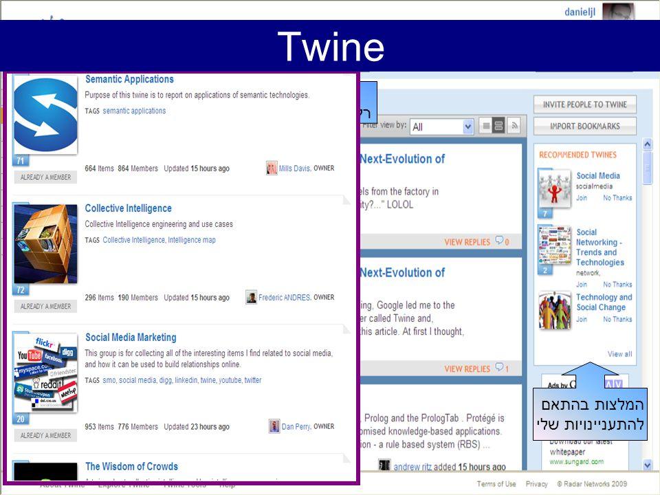רשימת ידיעות רלוונטיות מתעדכנת המלצות בהתאם להתעניינויות שלי הקבוצות (twines) שלי Twine