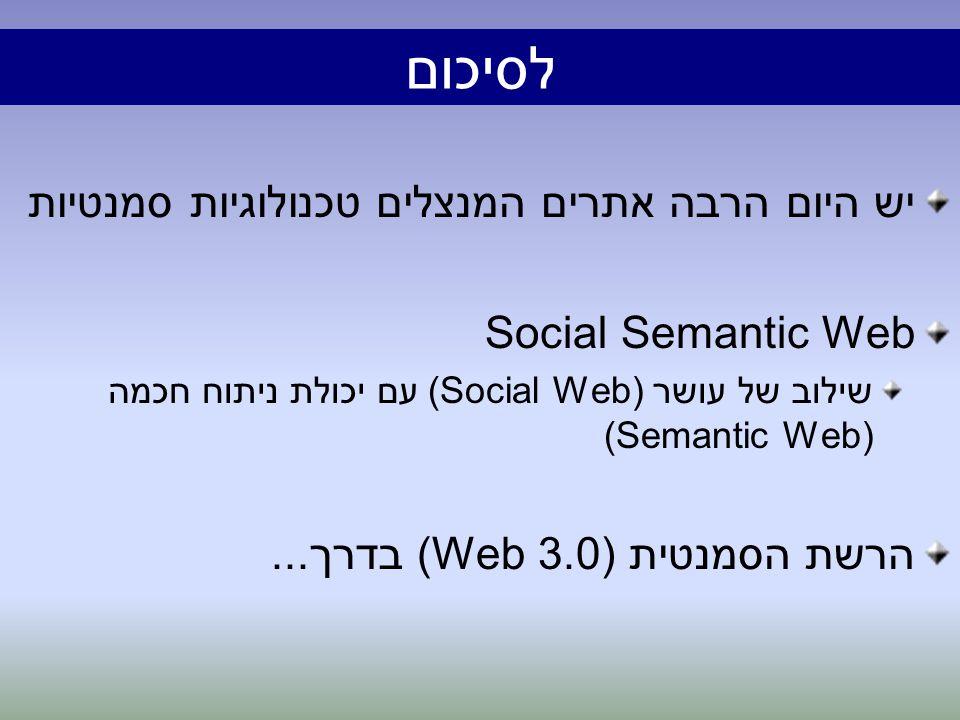 לסיכום יש היום הרבה אתרים המנצלים טכנולוגיות סמנטיות Social Semantic Web שילוב של עושר (Social Web) עם יכולת ניתוח חכמה (Semantic Web) הרשת הסמנטית (Web 3.0) בדרך...