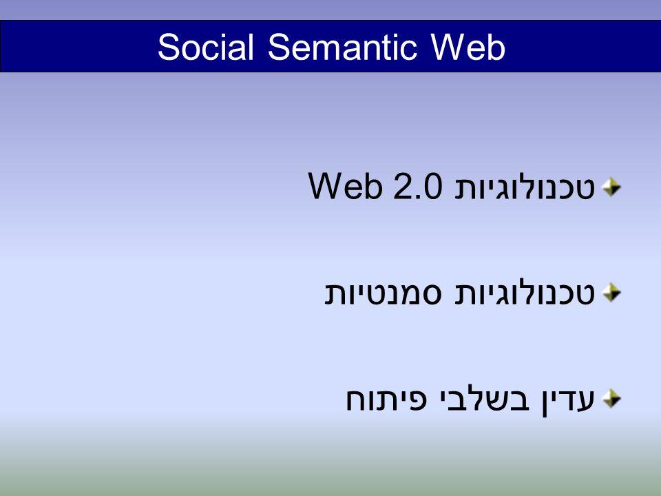 Social Semantic Web טכנולוגיות Web 2.0 טכנולוגיות סמנטיות עדין בשלבי פיתוח