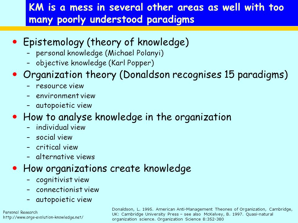 Personal Research http://www.orgs-evolution-knowledge.net/ KM is a mess in several other areas as well with too many poorly understood paradigms Epistemology (theory of knowledge) –personal knowledge (Michael Polanyi) –objective knowledge (Karl Popper) Organization theory (Donaldson recognises 15 paradigms) –resource view –environment view –autopoietic view How to analyse knowledge in the organization –individual view –social view –critical view –alternative views How organizations create knowledge –cognitivist view –connectionist view –autopoietic view Donaldson, L.