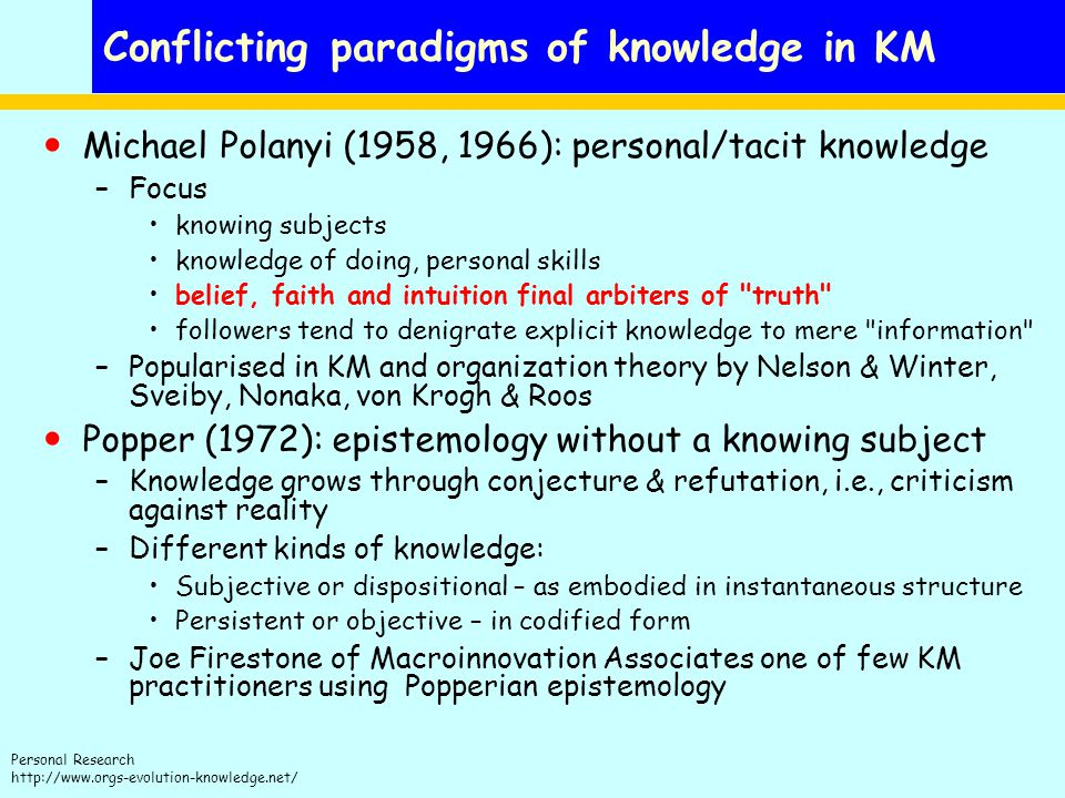 Personal Research http://www.orgs-evolution-knowledge.net/ Conflicting paradigms of knowledge in KM Michael Polanyi (1958, 1966): personal/tacit knowledge –Focus knowing subjects knowledge of doing, personal skills belief, faith and intuition final arbiters of truth followers tend to denigrate explicit knowledge to mere information –Popularised in KM and organization theory by Nelson & Winter, Sveiby, Nonaka, von Krogh & Roos Popper (1972): epistemology without a knowing subject –Knowledge grows through conjecture & refutation, i.e., criticism against reality –Different kinds of knowledge: Subjective or dispositional – as embodied in instantaneous structure Persistent or objective – in codified form –Joe Firestone of Macroinnovation Associates one of few KM practitioners using Popperian epistemology
