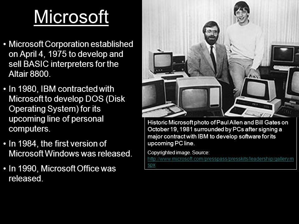 Microsoft Historic Microsoft photo of Paul Allen and Bill Gates on October 19, 1981 surrounded by PCs after signing a major contract with IBM to develop software for its upcoming PC line.