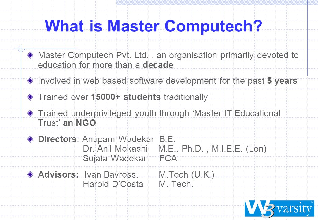 What is Master Computech. Master Computech Pvt.