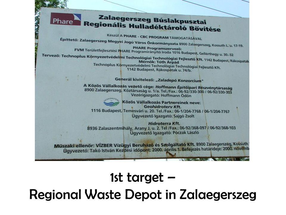 1st target – Regional Waste Depot in Zalaegerszeg