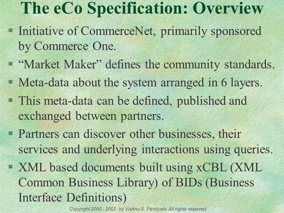 The eCo Framework A CommerceNet Initiative