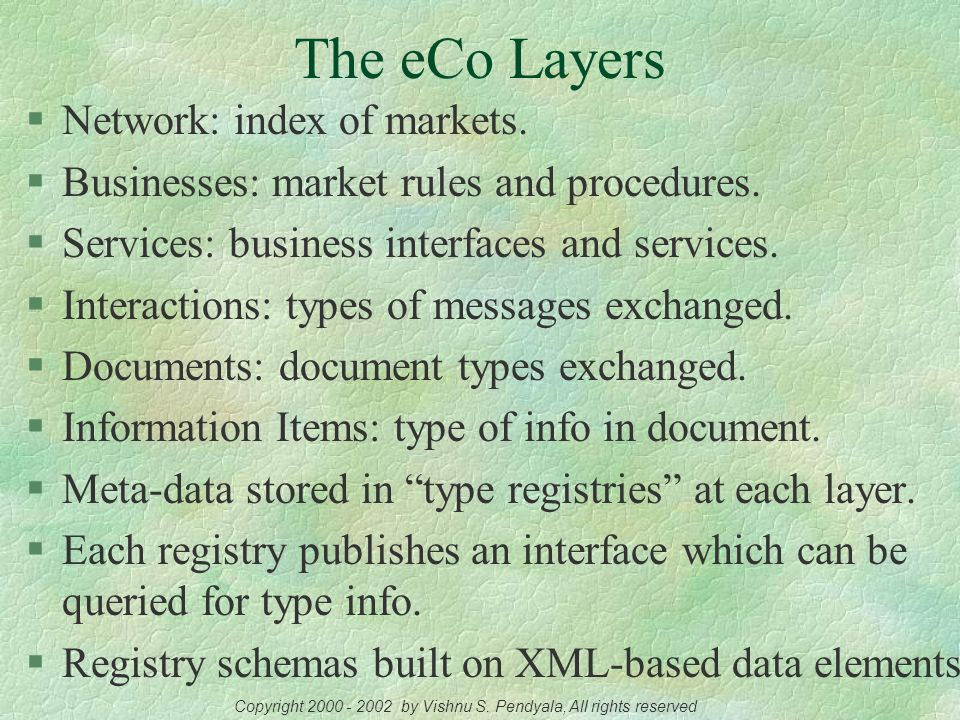 The eCo Specification: Overview  Initiative of CommerceNet, primarily sponsored by Commerce One.