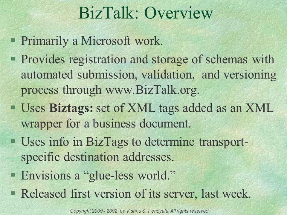 The BizTalk Framework A Microsoft Initiative