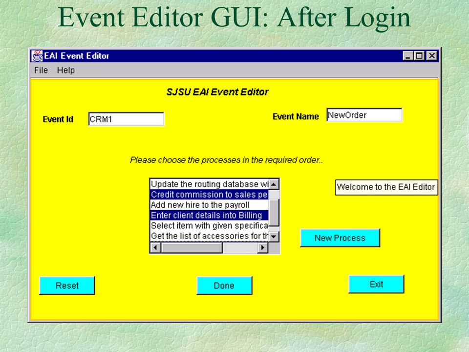 Event Editor GUI: Login Screen