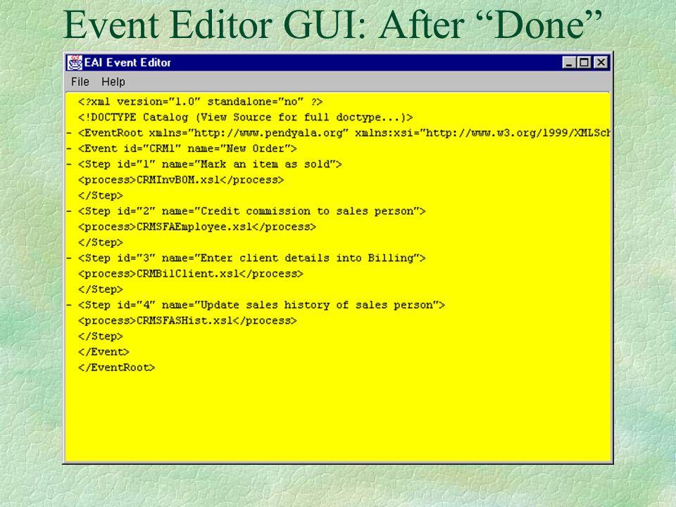 Event Editor GUI: After Login