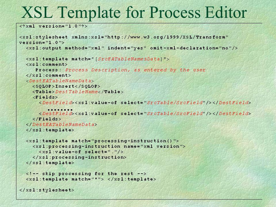 Process Editor GUI: Insert Menu